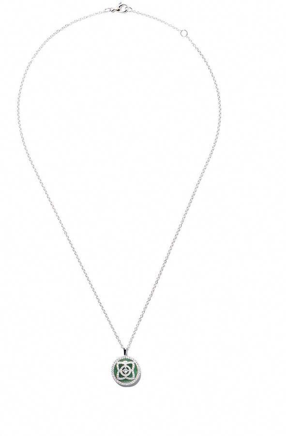 f13028f7893de8 De Beers 18kt white gold Enchanted Lotus Jade Medal diamond necklace  #diamondnecklaces