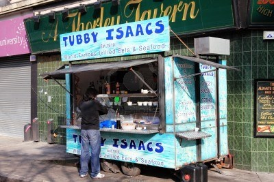 An East end institution for jellied eels, cockles, winkles, whelks...........