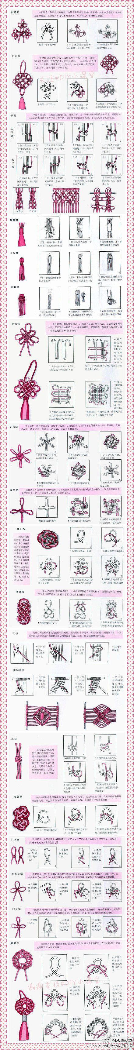 Knots Infografica su alcuni nodi, utili per lavori in macramé. Che ne dite di sperimentarli con qualcuno dei nostri cordini più belli? http://www.etsy.com/shop/ManifatturadiBreme