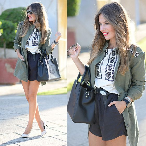 Get this look: http://lb.nu/look/7767736  More looks by Helena Cueva: http://lb.nu/miaventuraconlamoda  Items in this look:  Buylevard Parka, Zara Shorts, Zara Blouse, Zara Heels, Dolce & Gabbana Sunnies   #bohemian #chic #elegant