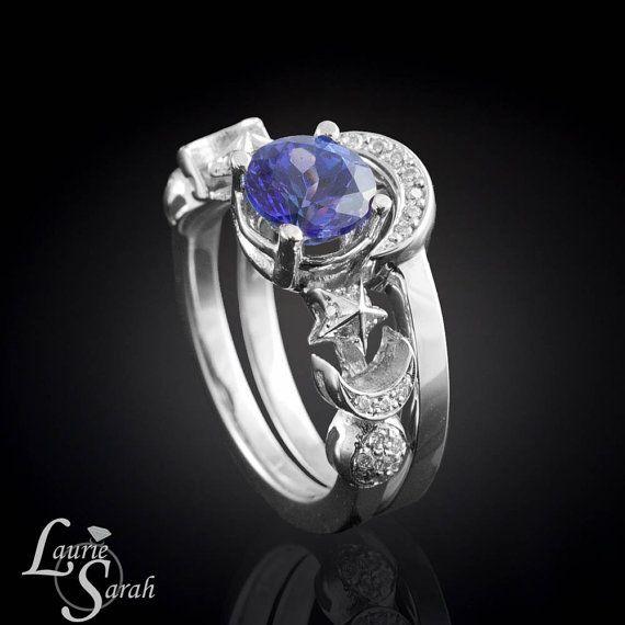 Tazanite And Pave Set Diamond Earth Moon Sun Stars Wedding Ring In White Gold