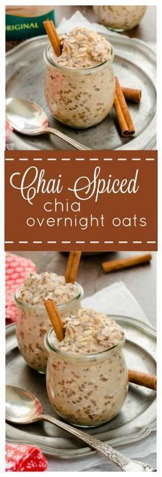 Chai Spiced Chia Overnight Oats are creamy overnight oats with warm chai spices. They're gluten-free and vegan, and are the perfect grab-n-go breakfast! @FlavortheMoment