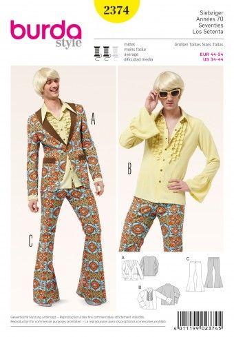 Burda - 2374 jaren 70 kostuum | Naaipatronen.nl | zelfmaakmode patroon online