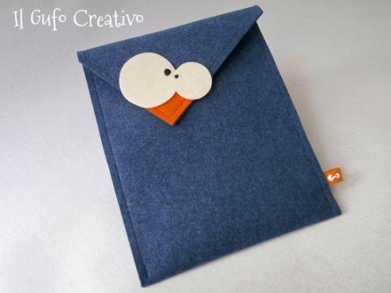 custodia ipad de il gufo creativo custodia ipad blu feltro di lana confezione