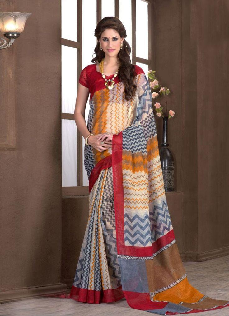 buy saree online Multi Colour Silk Printed Causal Wear Saree Buy Saree online - Buy Sarees online