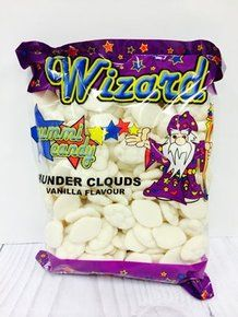 One kilo bulk bags of Wizard gummi Thunder Cloud lollies - white color, vanilla flavor for sale online in Australia. Buy our white Thunder Clouds online or in our Melbourne candy, lolly & sweets shop