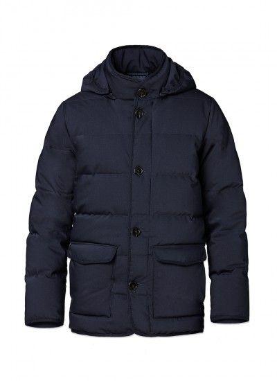 Doudoune - Toile de laine technique - Bleu marine