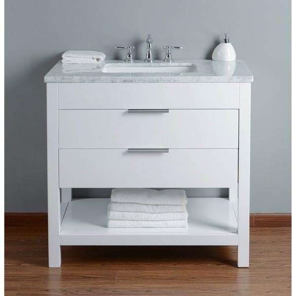Stufurhome Rochester 36 Inch White Single Sink Bathroom Vanity