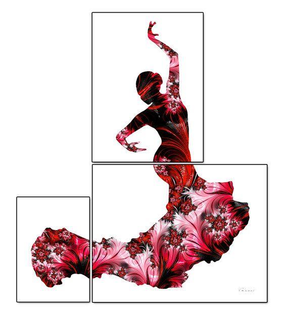 Flamenco dancer print fractal flamenco art red black