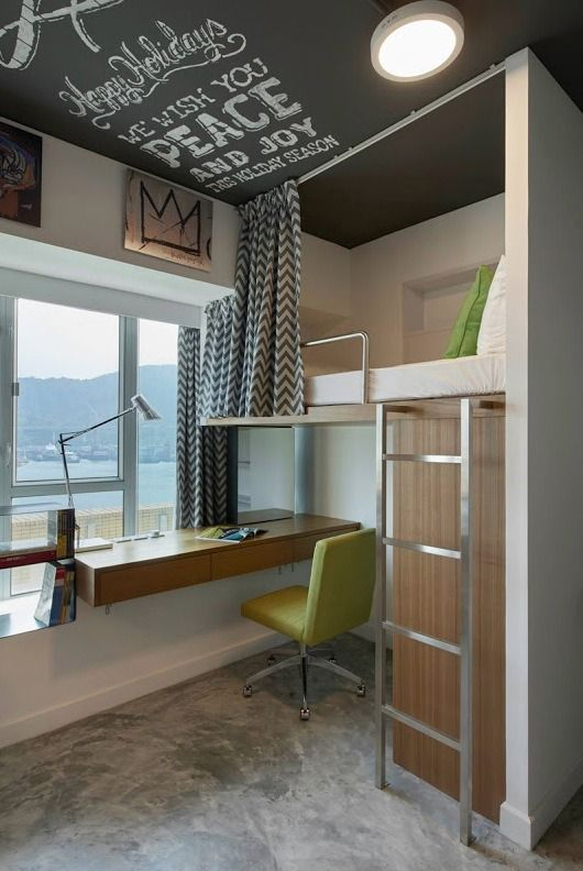 This is a 660 sq. ft. modern student apartment at Campus Hong Kong. Inside you'll find a common living area, kitchen, bathroom, and four loft beds with desks below. Please enjoy, learn more a…