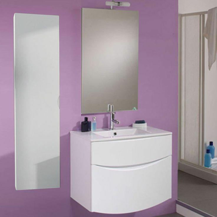 Mobile da bagno Sirio cm 74 specchio applique e colonna pensile sospeso bianco