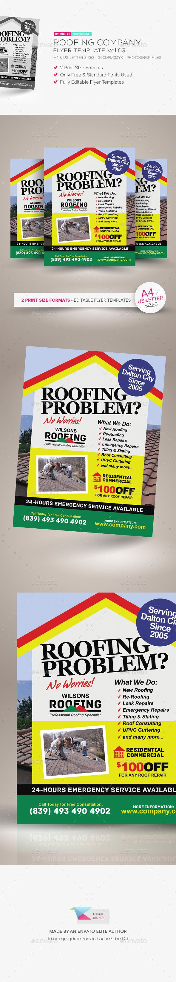 Roofing Company Flyer Template Vol.03 — Photoshop PSD #pamphlet #plumbing • Download ➝ https://graphicriver.net/item/roofing-company-flyer-template-vol03/21187573?ref=pxcr