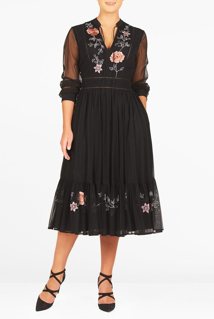 """eShakti Women's Floral embellished ladder lace trim tulle dress S-6 Short Black multi. Slips on over head, partial side zip closure, Banded split V-neck with front ties, Long sleeves with banded cuffs, Princess seamed bodice, Ruched pleat skirt, Side seam pockets, Mid-calf length, Lined in polyester moss crepe, Polyester, crinoline tulle, sheer, very light stretch, lightweight, Machine wash cold, Model is wearing our size S/6, cut for her height of 5'8"""". Comes in Petites, Misses and Plus..."""