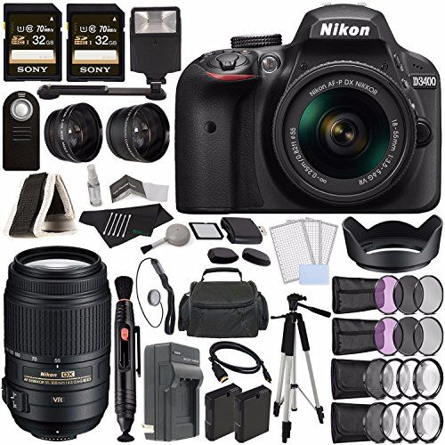 Nikon D3400 DSLR Camera with 18-55mm Lens (Black)  Nikon AF-S DX NIKKOR 55-300mm f/4.5-5.6G ED VR Lens  Battery  Charger  32GB  Remote  Card Reader  Tripod  HDMI  Case  Flash Bundle