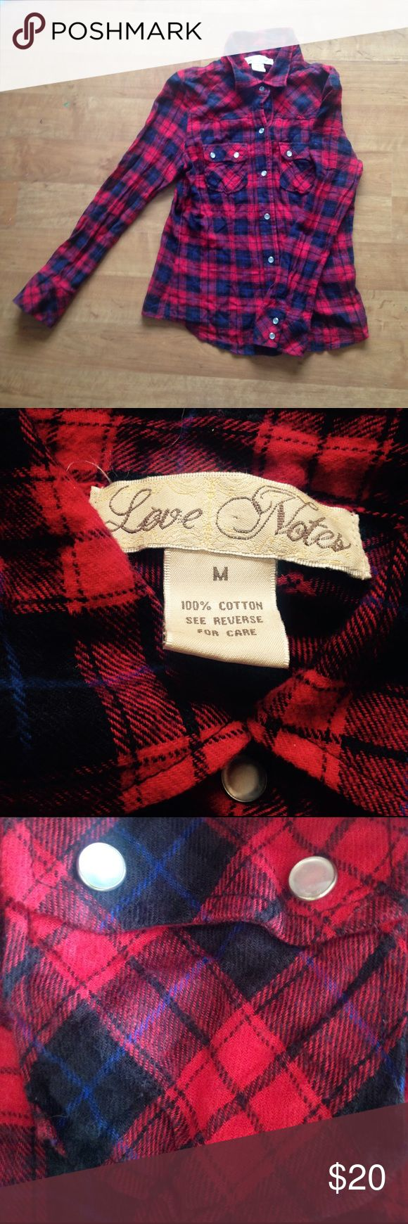 Love Notes Red Plaid Shirt size M Gorgeously soft red/blue/black plaid shirt by Love Notes. Bought at Nordstrom. Snap enclosure. Long sleeves. Never worn. 100% cotton. Love Notes Tops Button Down Shirts