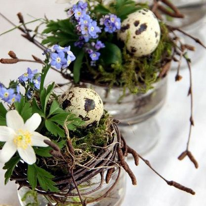 Adding some natural elements to your flower arrangements including moss, twigs and speckled quails eggs look playful and rustic. http://www.goodhousekeeping.co.uk/lifestyle/home-decorating-ideas/easter-flowers-ideas-for-easter-flower-arrangements