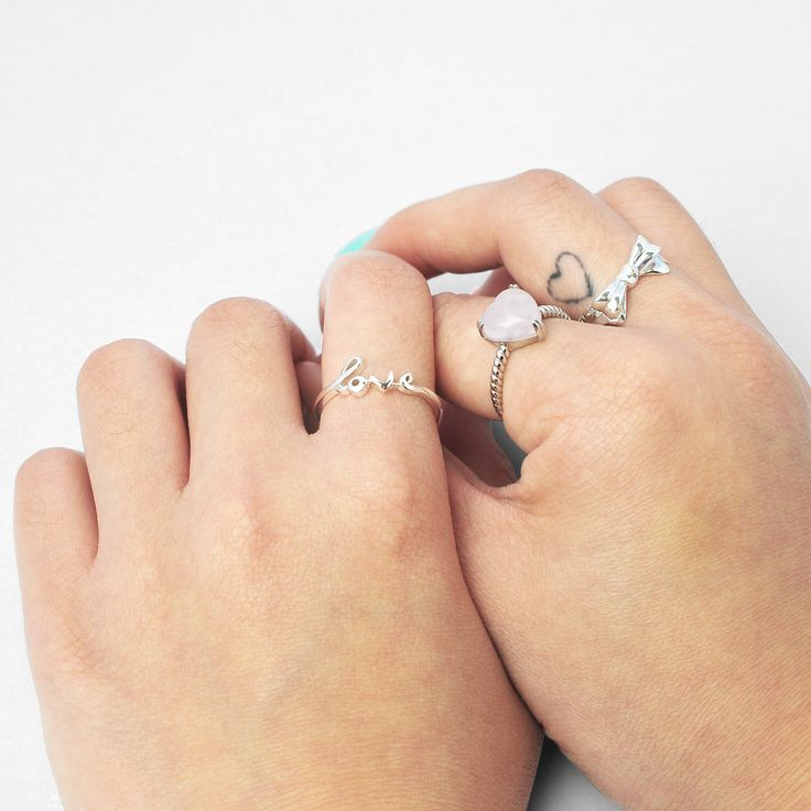 | Love Struck | feel the love with our range of inspired gem and sterling silver rings #pinchandfold #sterlingsilver #rosequartz #bow