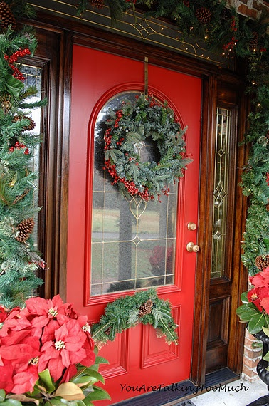 The front door reveal! Holiday style! www.youaretalkingtoomuch.com