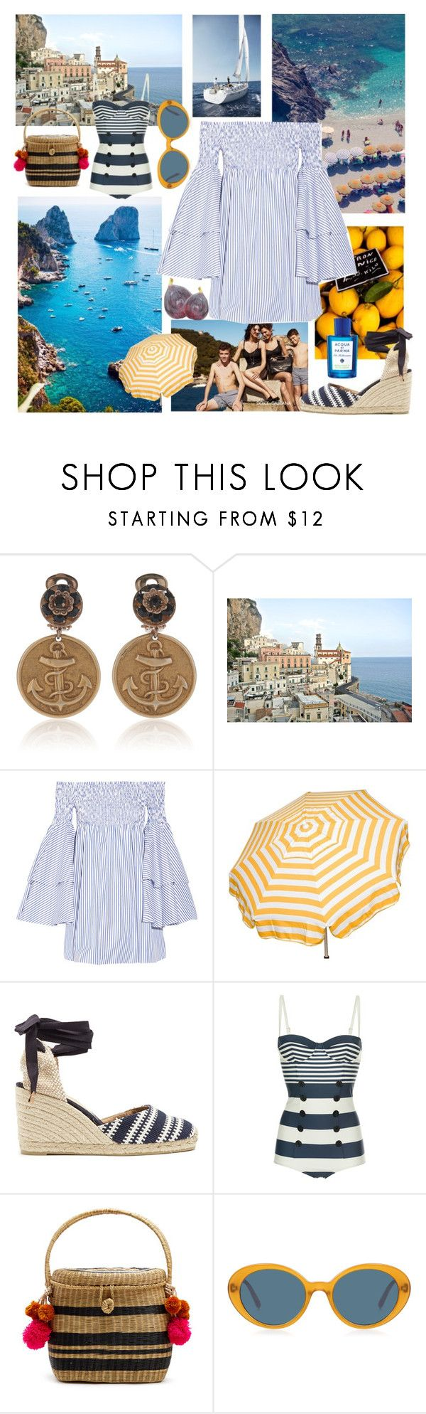 """""""Sapore di Capri"""" by sophier ❤ liked on Polyvore featuring WALL, Dolce&Gabbana, Dolce Vita, Caroline Constas, Parasol, Castañer, Sophie Anderson, Oliver Peoples and Acqua di Parma"""