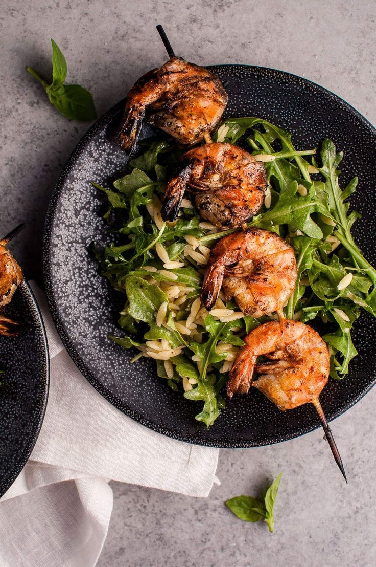 grilled shrimp, orzo, and fresh arugula tossed with a garlicky lemon ...