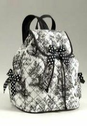 black toile drawstring backpack
