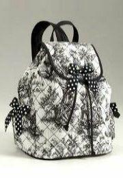 black toile drawstring backpack
