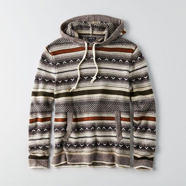 AE Baja Hooded Sweater ($70) ❤ liked on Polyvore featuring men's fashion, men's clothing, men's hoodies, green, mens tall hoodies and mens patterned hoodies