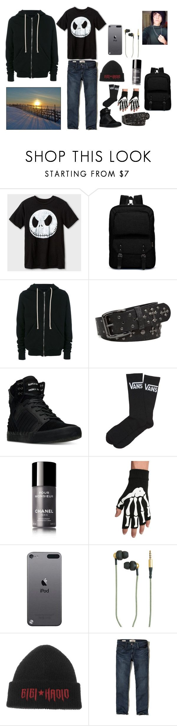 Emo Guy Outfit by ghostmanl on Polyvore featuring Hollister Co., Rick Owens, Vans, Supra, BKE, Chanel, Tommy Hilfiger, Kreafunk, Hot Topic and men's fashion