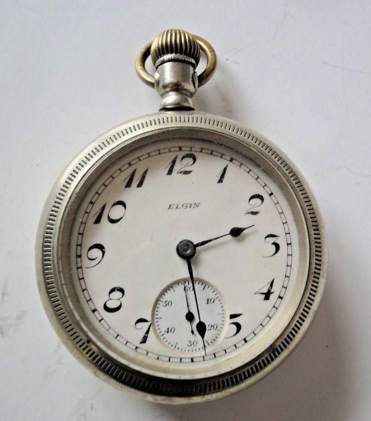 Elgin 15 Jewel Pocket Watch with Large Nickel Silver Case  #Elgin