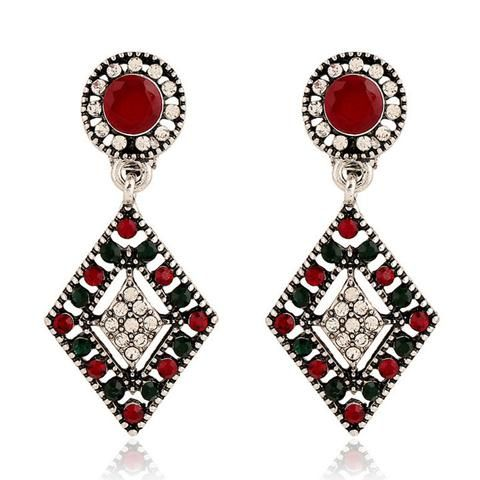 Red and Green Classic Style Clip on Earrings - Perfect for Christmas!