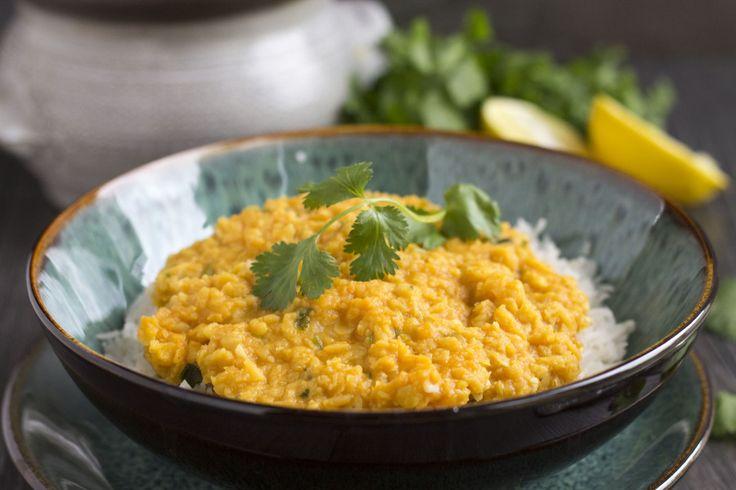Dal de lentilles corail, lait de coco et curry, pour accompagner du riz