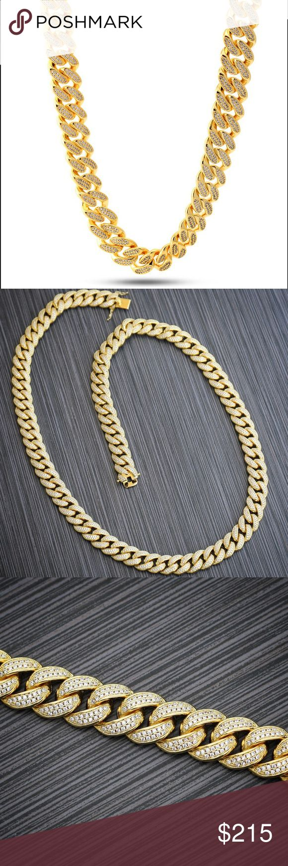 Hip Hop 14k Gold Cuban Link Chain With Diamonds Men's Hip Hop Gold Cuban Link Chain With Diamonds  High quality pvp 14k gold plated over brass. Fully iced out with 2row lab simulated diamonds. Chain width is 15mm length is 30 inches Includes clasp that lock for a secure fit. Ts Verniel Accessories Jewelry