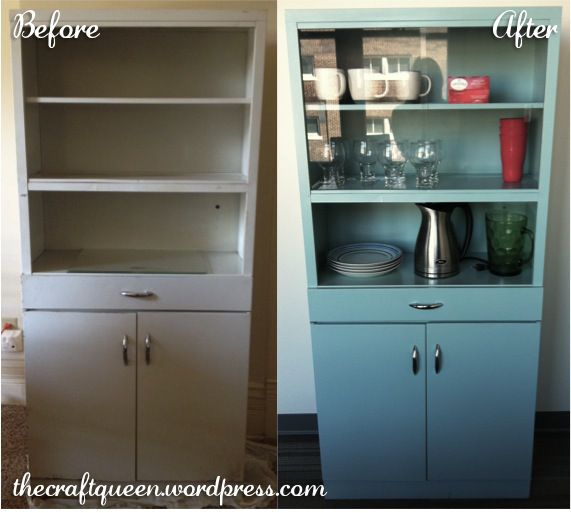 Before and After:  Vintage Metal Cabinet
