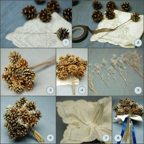 Check out these amazing directions I found for making the perfect pine cone bouquet. Wouldn't this be the perfect thing for the rustic chic bride, I just love it! (Photo Credit: Wellwed)