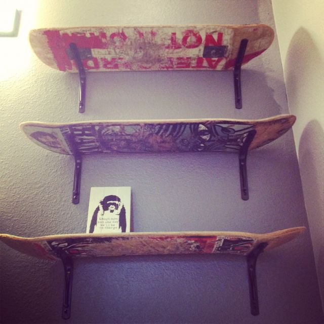 Reuse, Recycle! Skateboard shelves. Finding a purpose for Adam's stack of old skateboards! Must do this in Joseph's room