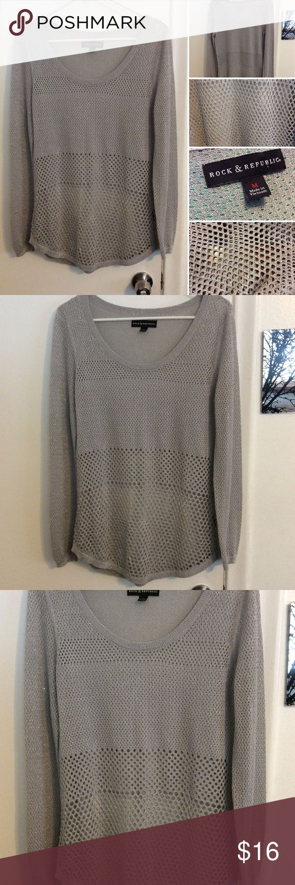 Rock & Republic Gray Metallic Long Sleeve Top This Rock & Republic top is in excellent new like condition. This is a see through netted top and has metallic threading throughout. The materials tags has been removed so I am unsure of the materials. This is a size medium Rock & Republic Tops