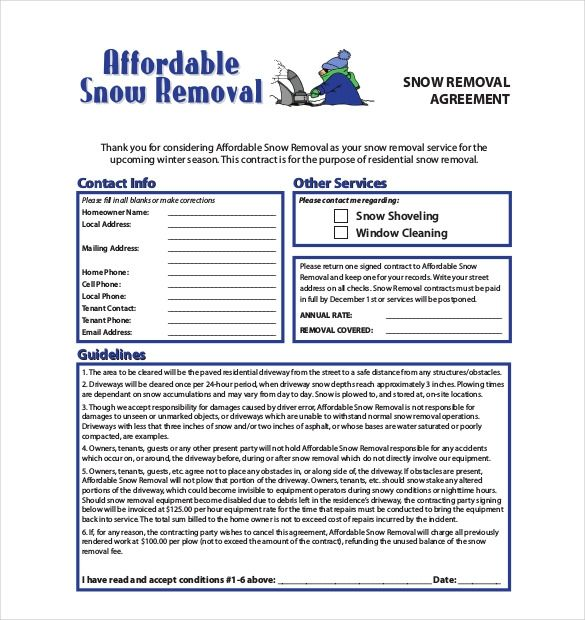 Snow Plowing Flyer Free Templates Snow Removal Contract Contract Template Snow Removal