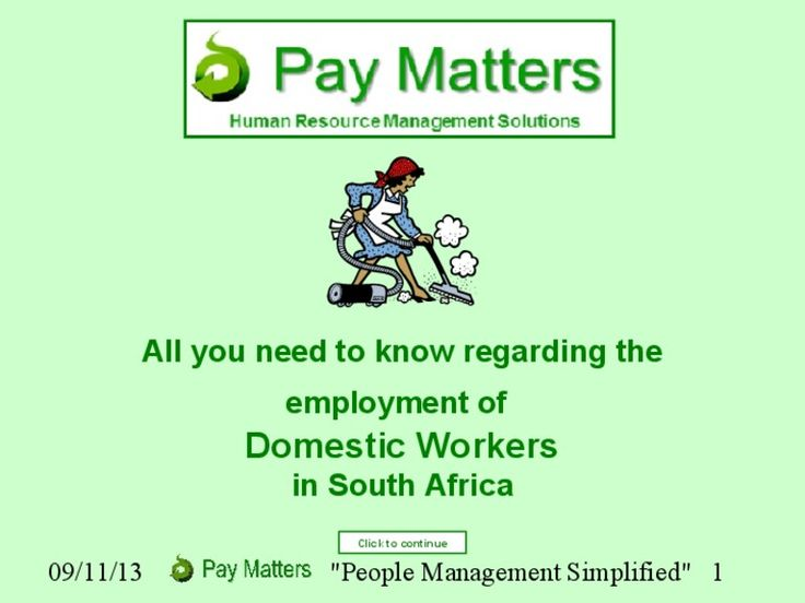 All you need to know about the employment of Domestic Workers in South Africa