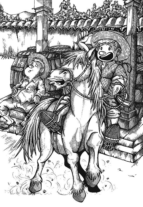 """""""Huaso"""" Ilustración Tinta. Autor: José Zúñiga."""