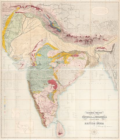 The first geological map of the Indian subcontinent by George Bellas Greenough.   General Sketch of the Physical and Geological Features of British India. 1855. More info on http://sotherans.blogspot.co.uk/