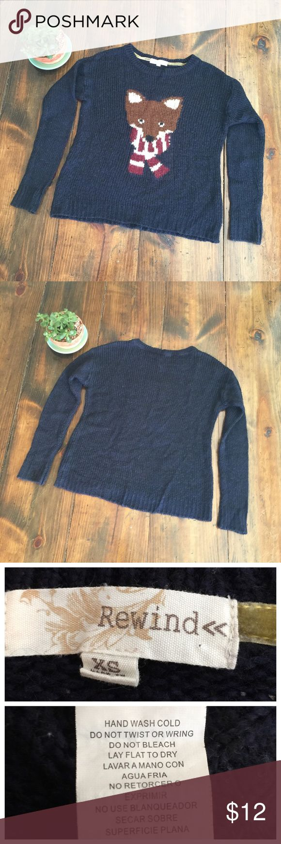 "Cute ""ugly"" Holiday Sweater Navy Sweater with fox wearing a scarf by Rewind. Cute ""ugly"" holiday sweater. Size XSMALL EUC - some pilling. Rewind Sweaters Crew & Scoop Necks"