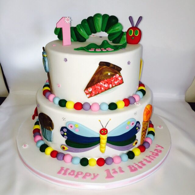 The hungry caterpillar cake for a girls 1st birthday! All decorations are handmade and are edible! :)