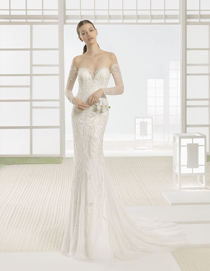 Wilkins - Beaded tulle column dress with sweetheart neckline and very low back, in natural/nude.