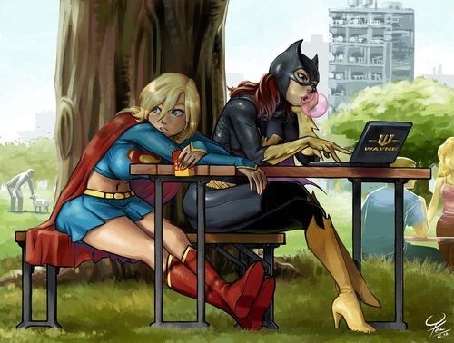 gailsimone:    dcplanet:    Supergirl & Batgirl  (More DC Fan Arts #5)    The amount of amaIng Batgirl art lately is astonishing.  Supergirl: I thought we were going to go beat up the Clock King?   Batgirl: Right, right, just… checking for emails from Dinah.   Supergirl: You're on Tumblr.   Batgirl: Finish your juice box.