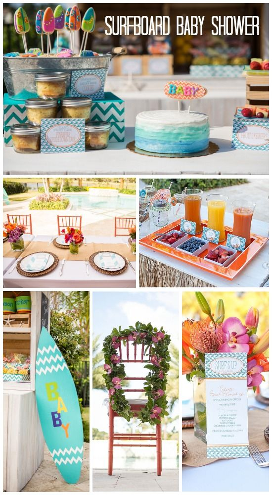 """What a stunning surfboard baby shower! This shower is filled with beautiful surfing """"baby on board"""" party ideas."""