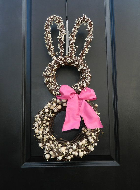 8 Spring Wreaths You'll Love on Etsy - Easter Bunny Wreath!