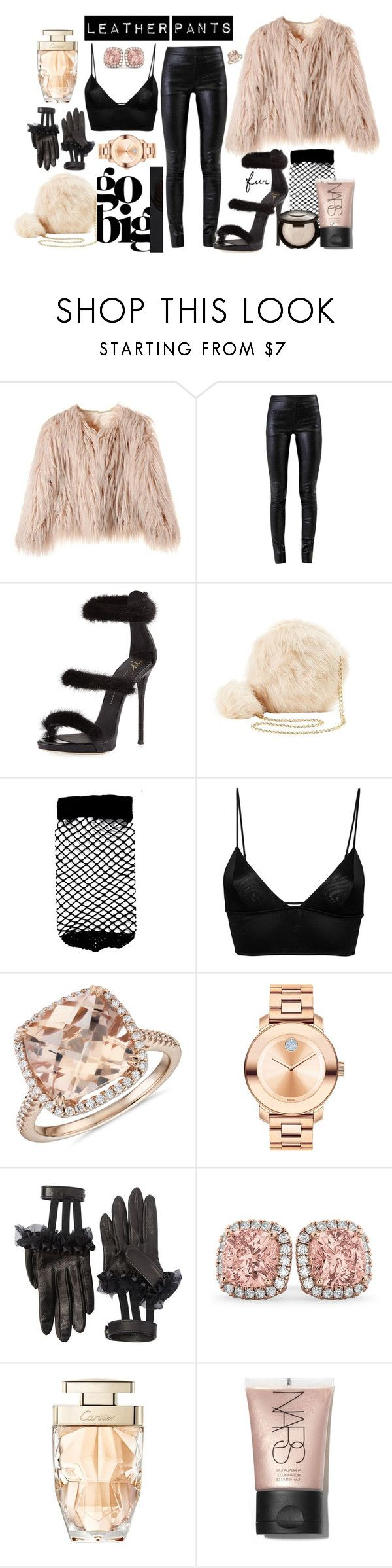 """""""Leather Pants & fur"""" by ccfashionstreet on Polyvore featuring Helmut Lang, Giuseppe Zanotti, Charlotte Russe, ASOS, Fleur du Mal, Blue Nile, Movado, Gucci, Allurez and Cartier"""