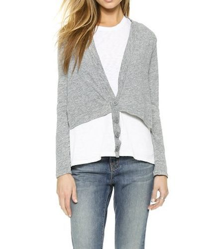 Our Price: $14.99! Stateside Anthropologie Saks Shirttail Layered Gray & White Cardigan $96 SPECIAL #Stateside #KnitTop