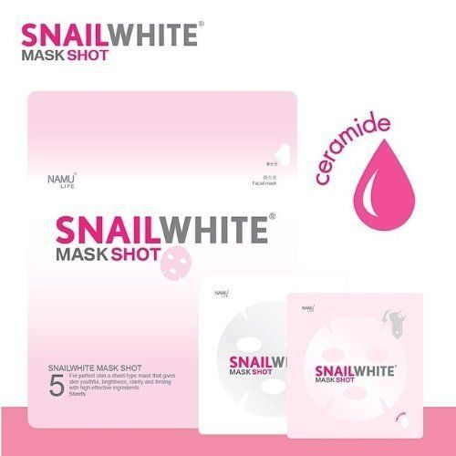 Snail White Face Mask Shot Skin Regenerate Recovery Moisturizer 5 Sheets in Pack >>> Read more  at the image link.
