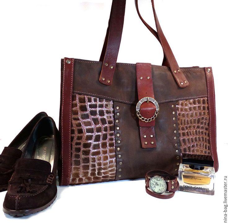 """Купить Кожаная сумка """"Винтажный шик"""" - звериная расцветка, Кожаная сумка, сумка из кожи"""